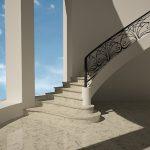 Полувинтовая бетонная лестница на тетиве с пригласительными ступенями.